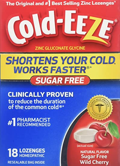 Amazon Cold Eeze Cold Remedy Sugar Free Lozenges Wild Cherry 18