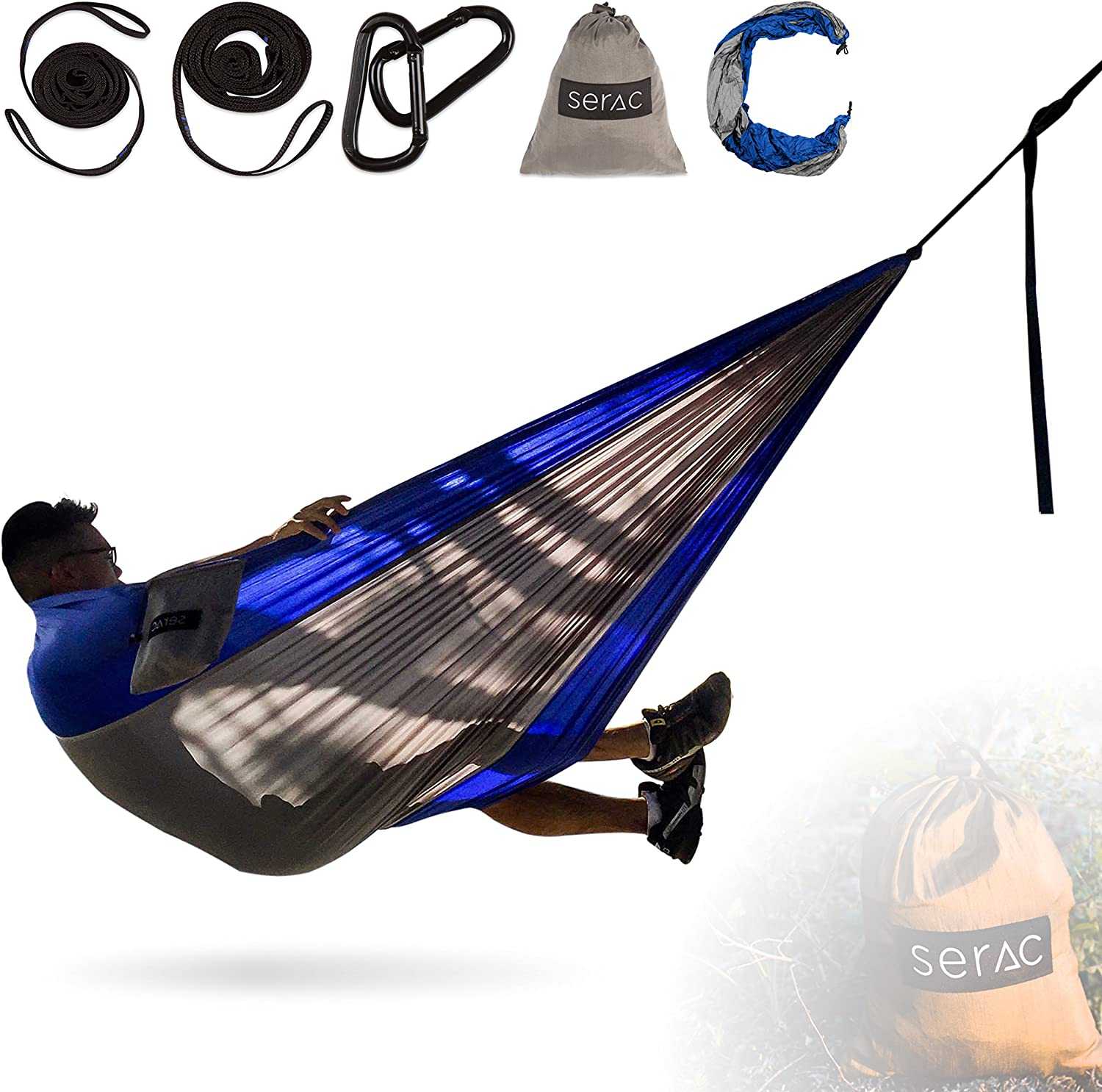 Serac Durable Hammock Strap Bundle Classic Portable Single Camping Hammock with Suspension System – Perfect for The Backpack, Travel and Camping