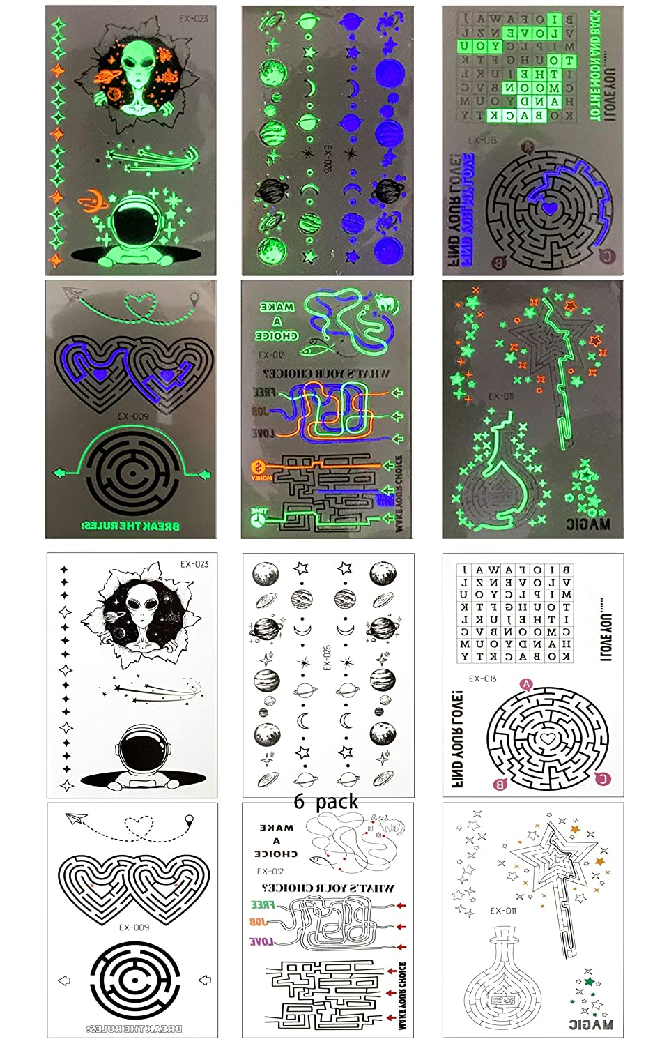 6 Sheets of luminous tattoo stickers suitable for men and women, fluorescent tattoo Fake Tattoo is suitable for parties, festivals, clubs, luminous party accessories, festival decoration DIY