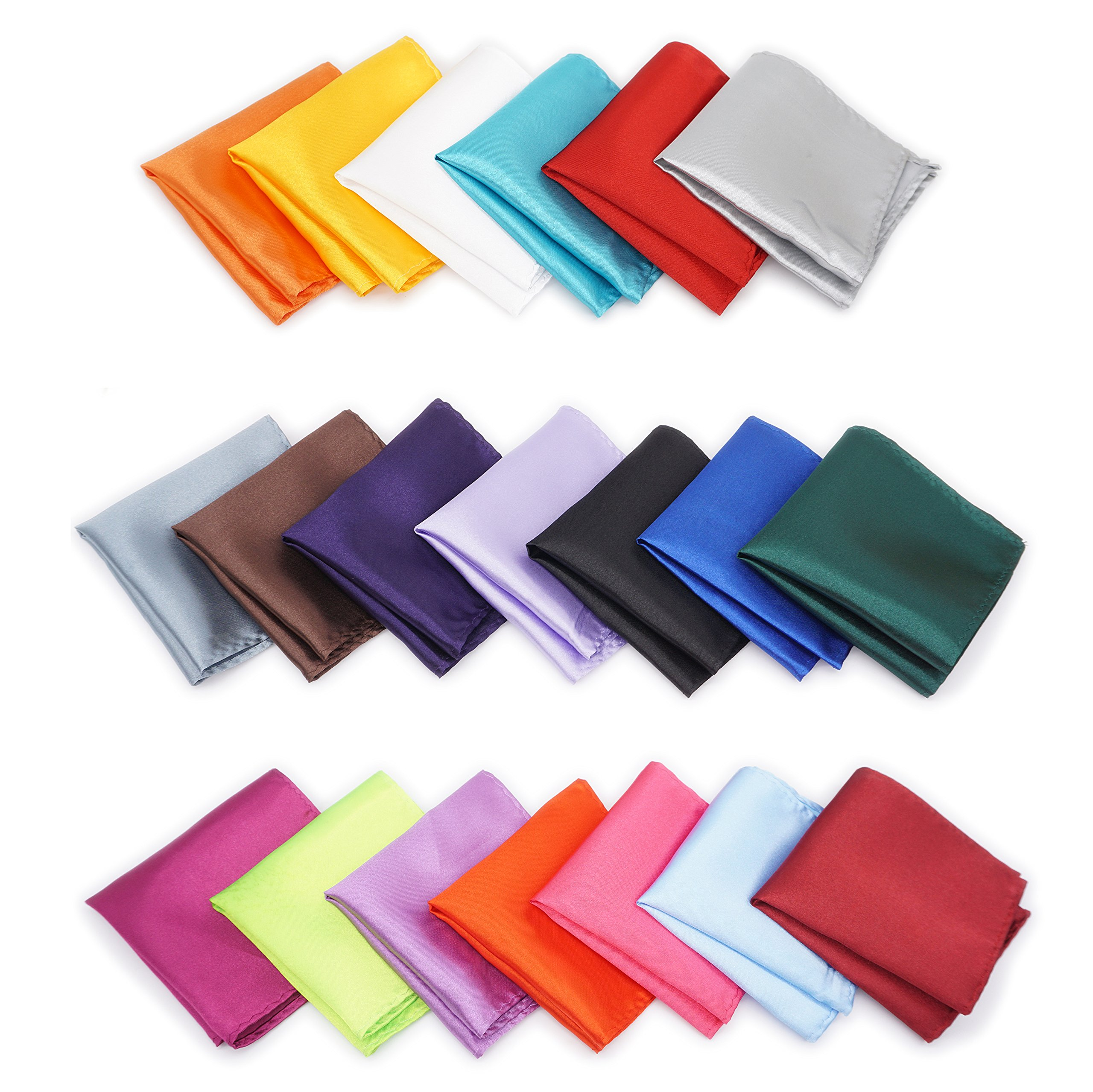 AVANTMEN 20 PCS Men's Pocket Squares Assorted Solid Color Handkerchief Hanky with Gift Box (8.6 x 8.6'', S11)