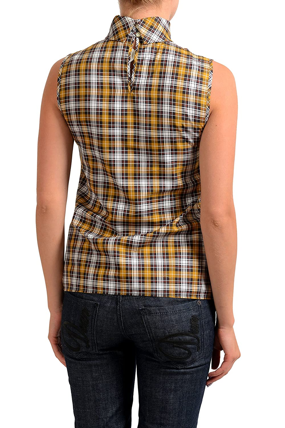 DSQUARED2 Multi-Color Checkered Womens Sleeveless Blouse Top US XS IT 38