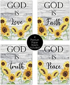 Farmhouse Wood Grain Yellow Sunflower Religious Christian Bible Verse Quotes Sayings Rustic Wall Art Scripture Posters Home Decor Boho Floral Flower Vintage Country Prints Women Living Room Bathroom