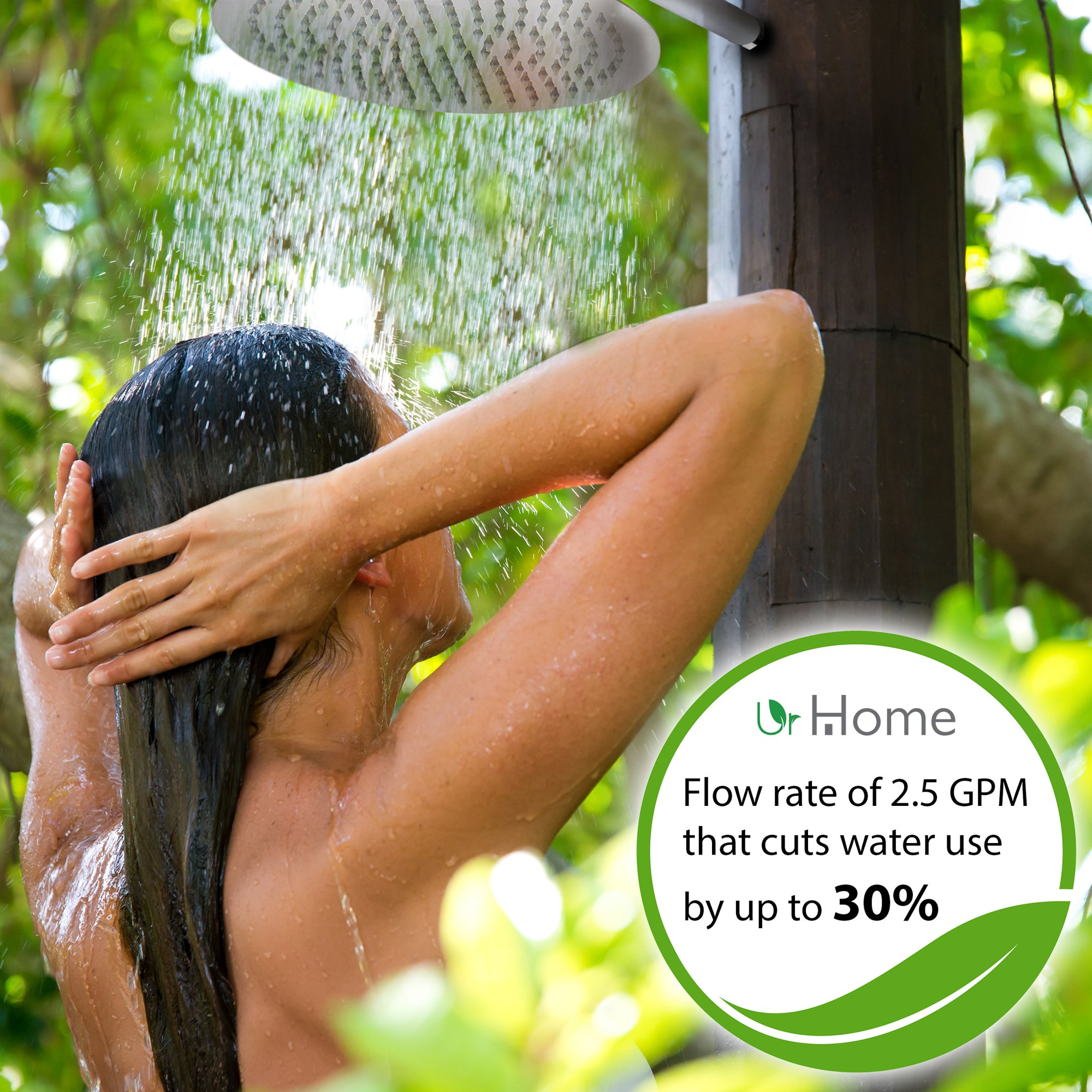 Luxury Rainfall Shower Head By Urhome - 10 Inch Wide For A Spa Like Bathroom - Easy To Install No Tools Required - Eco Friendly High Flow Showerhead - Soothing And Fun by urHome Brand (Image #4)
