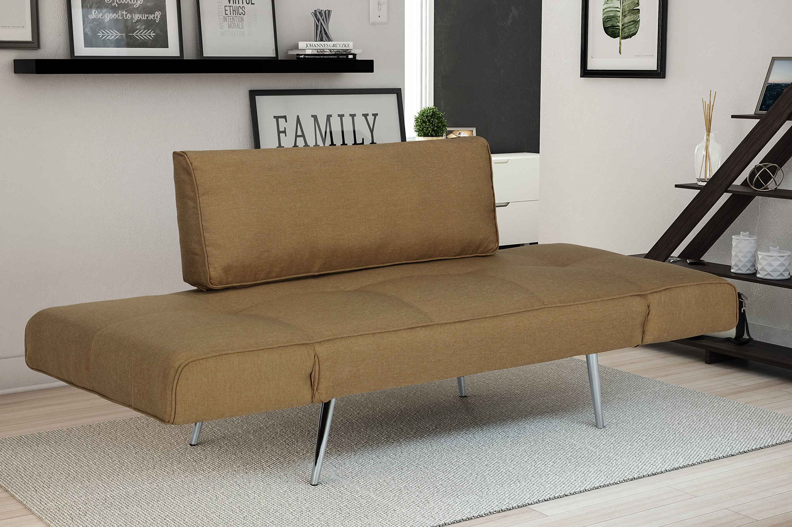 DHP Euro Sofa Futon Loveseat with Chrome Legs and Adjustable Armrests - Tan by DHP (Image #5)