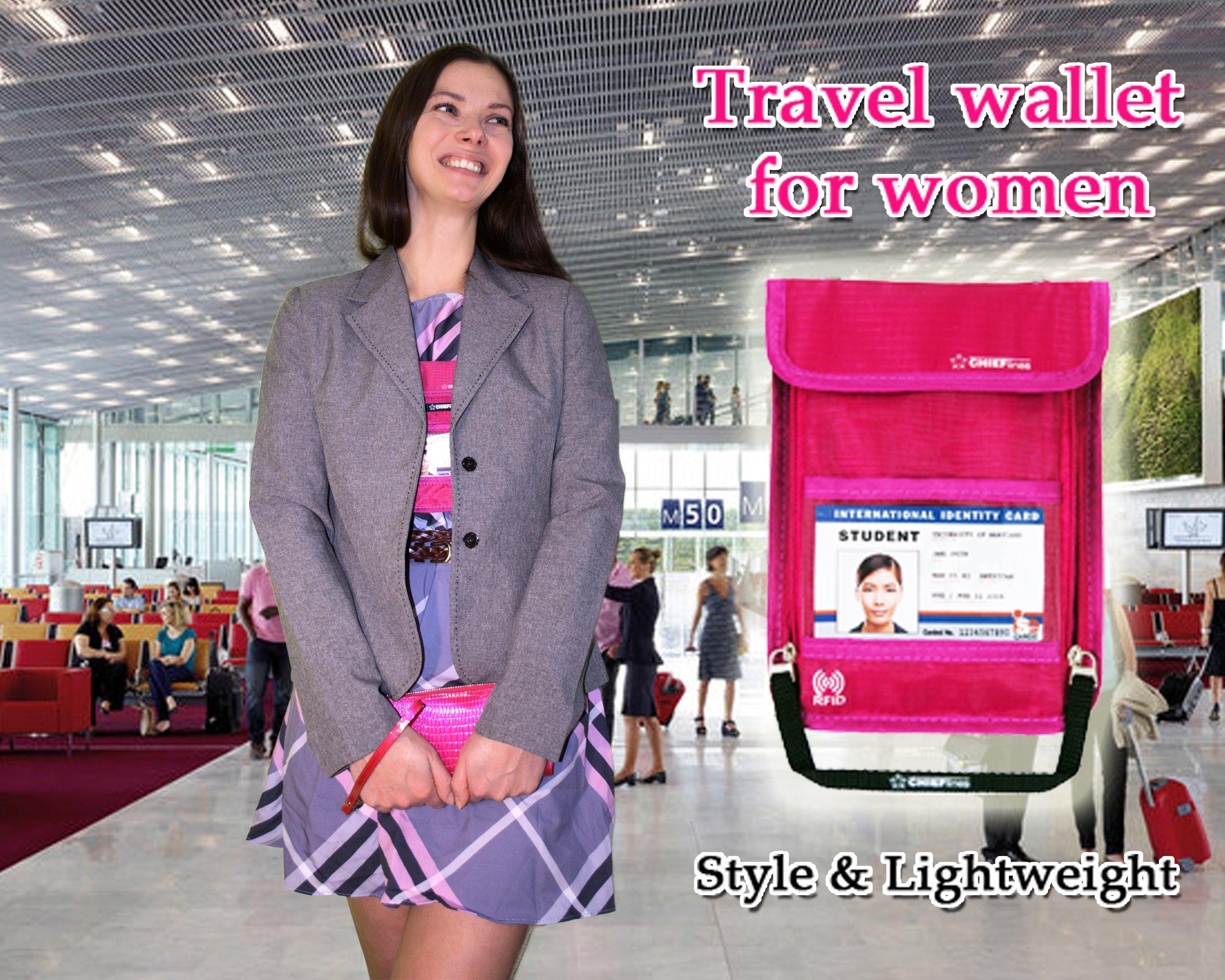 Travel Wallet for Women-holder-Lightweight Anti-Theft RFID Blocking Nylon Neck Pouch-Gift (Purple)