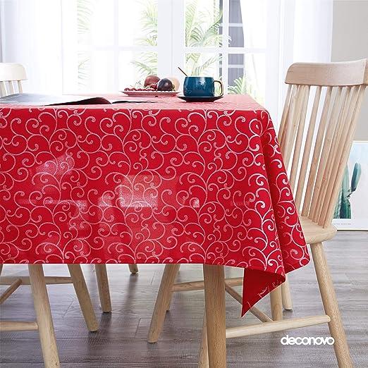 Deconovo Mantel Mesa Rectangular Decorativo 130 x 130 cm Rojo ...