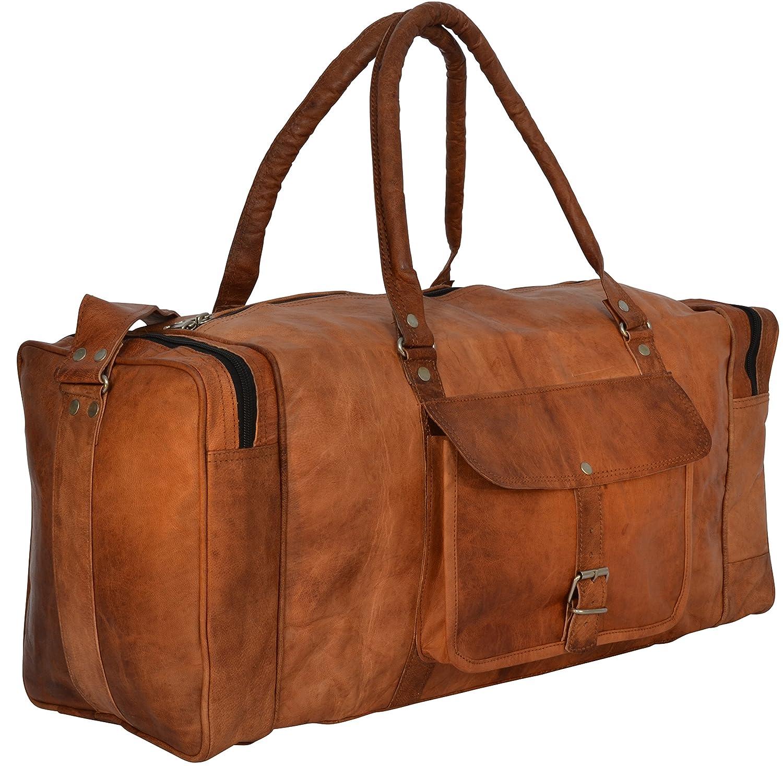 """Sac de voyage - Gusti Cuir nature """"Harvey"""" bagage cabine vintage sac à bandoulière rétro bagage à main homme femme cuir de chèvre marron R27b S Gusti Leder"""