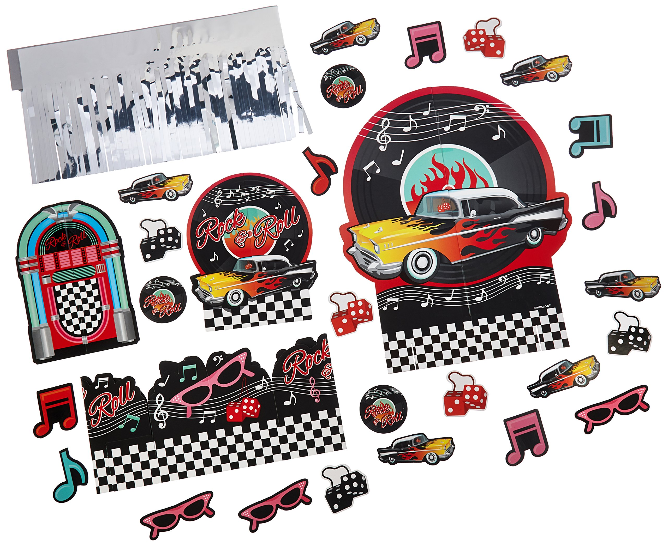 Amscan Nifty 50's Theme Party Jskebox and Vinyl Records Tbale Decorating Kit, Paper, 12''