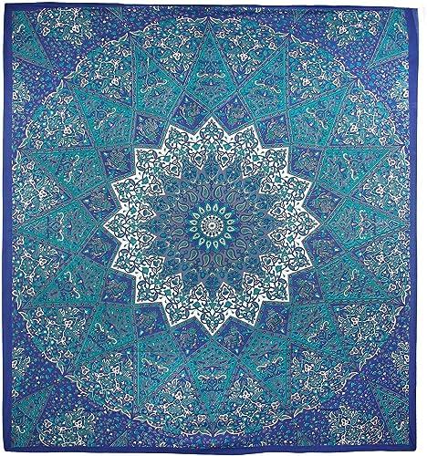 Sunshine Joy Traditional Indian Tapestry Elephant Star Mandala Blue, Teal Grey