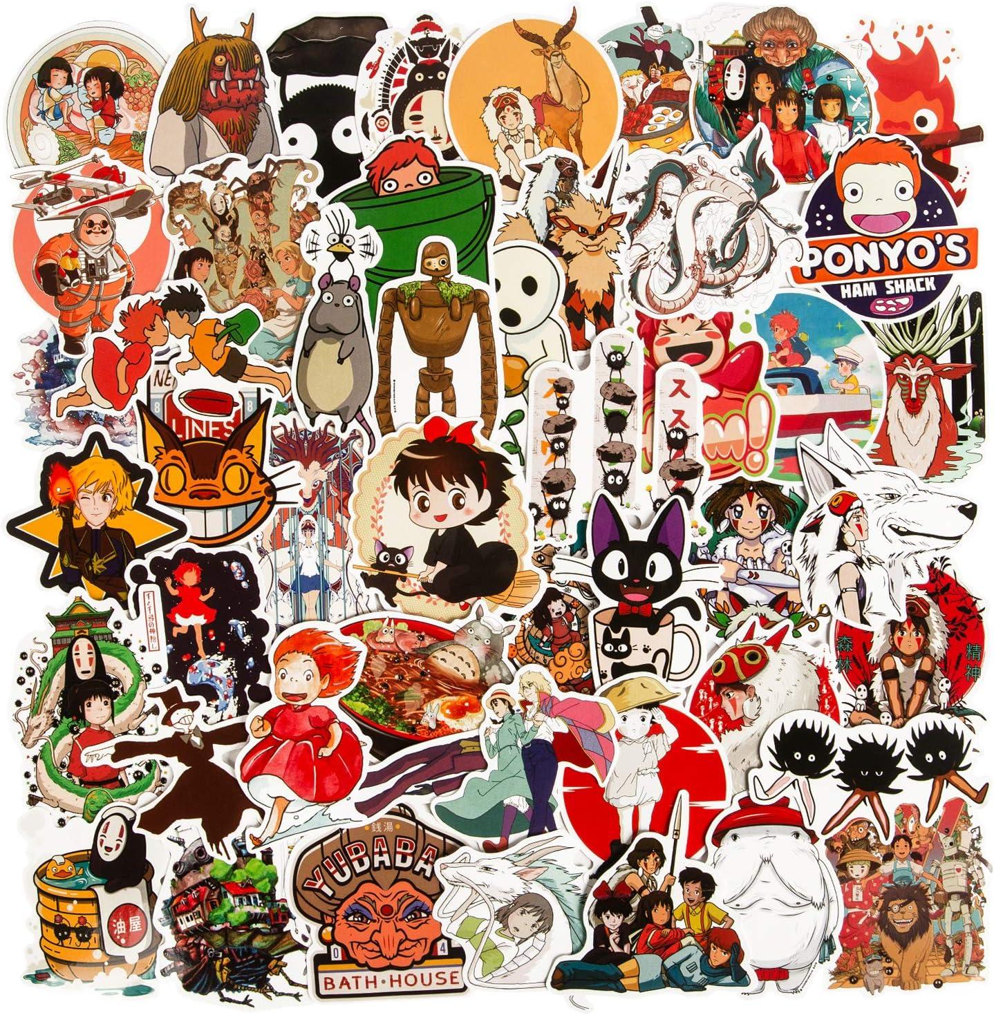 50Pcs Studio Ghibli Stickers, Miyazaki Hayao Animation Film Theme Anime Stickers for Laptop, Vinyl Spirited Away No Face Man Totoro Water Bottle Stickers for Skateboard Computer Luggage