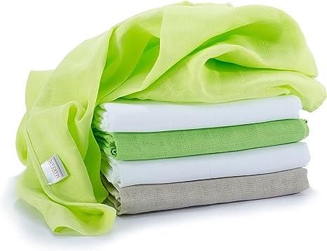 Muselina / Paño / Gasa algodón bebé - 5 Ud, 70x70 cm, verde, blanco, Tejido doble con bordes reforzados, lavable a 60°, certificado OEKO-TEX Standard 100: Amazon.es: Bebé