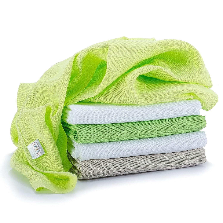 Lange bébé en mousseline de coton | Lot de 5 | 70 x 70 cm | Qualité supérieure - Couleur vert, double tissage, bordure renforcée, certifié Öko-Tex Standard 100, lavable à 60° C Makian 020714HPUU5