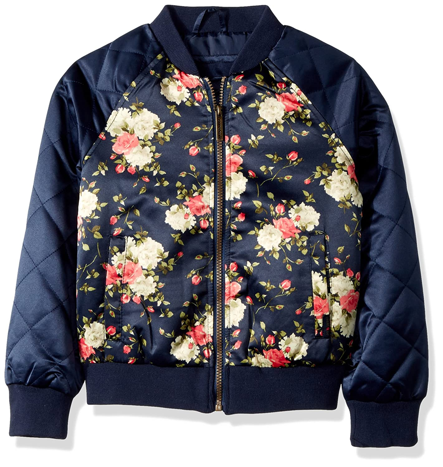 Limited Too Girls Too Bomber W//Allover Print /& Quilted Sleeves