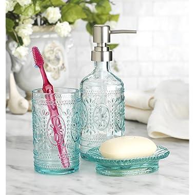 Classic Set of 3 Glass Bathroom ~Toothbrush Holder ~ Soap Holder ~ Soap Pump Lotion Dispenser (Blue)