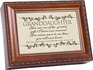 Cottage Garden Granddaughter Woodgrain Music Box/Jewelry Box Plays Amazing Grace