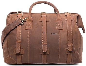 8c3bb4b457f Amazon.com | LEABAGS Dili Duffel Bag of Genuine Buffalo Leather in ...