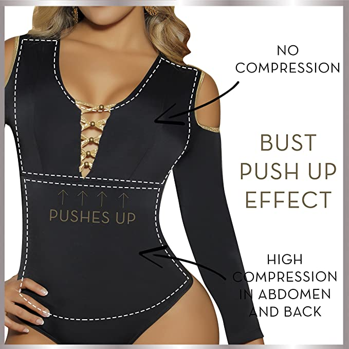 Aranza Blusa Faja Colombiana de Mujer - Bodysuit Body Shaper Blouse Womens Body Suit High Compression Shapewear at Amazon Womens Clothing store: