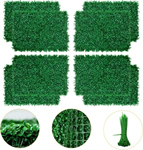 Artificial Boxwood Panel - 8PCS Faux Boxwood Hedge Wall Panels as Greenery Backdrop, 24 x 16 Inch Boxwood Hedge Mat for Indoor Wall Decoration and Outdoor, Balcony, Garden Fence