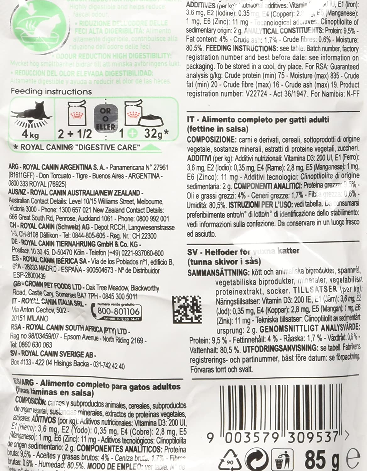 ROYAL CANIN Feline Digest Sensitive Pouch - 85 gr: Amazon.es: Productos para mascotas