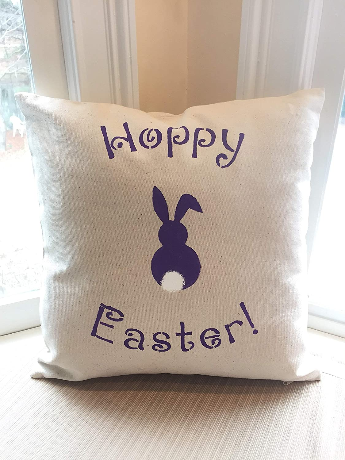 Feliwe Hoppy Easter Throw Pillow Happy Easter Pillow Cover Easter Pillow Throw Pillow Cotton Linen Pillow Cover Amazon Co Uk Kitchen Home
