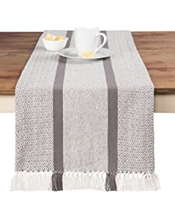 SARO LIFESTYLE 0577 Petite Pompon Oblong Table Runner 16 by 72-Inch Ivory