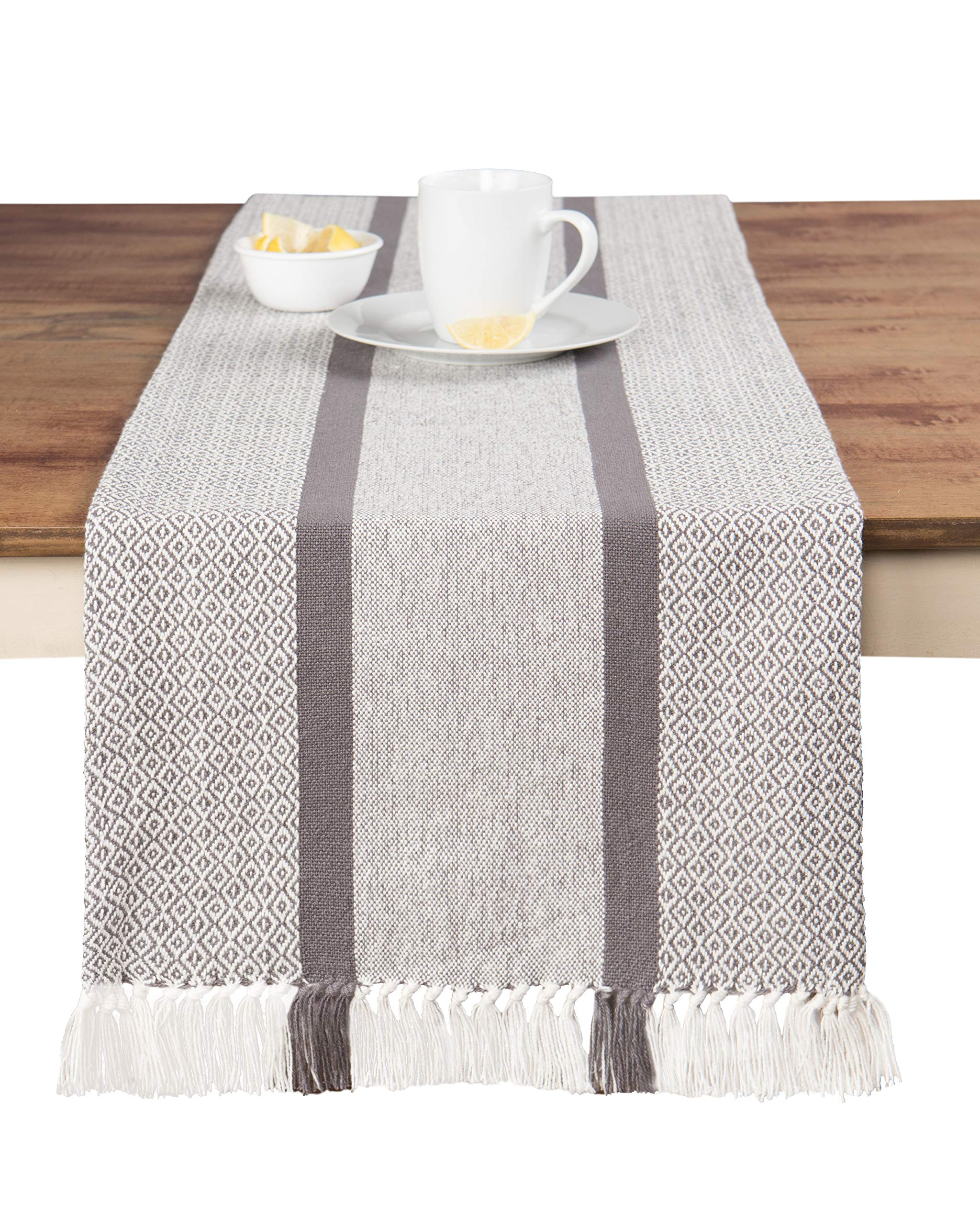 Sticky Toffee Cotton Woven Table Runner with Fringe, Traditional Diamond, Gray, 14 in x 72 in