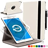 ForeFront Cases® New Apple iPad Air Rotating Leather Case Cover / Stand with Magnetic Auto Sleep Wake Function For New 2013 iPad Air + WiFi 16Gb, 32Gb, 64Gb, 128Gb - WHITE