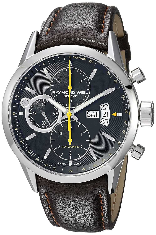 Raymond Weil Men s Freelancer Quartz Watch with Stainless-Steel Strap, Brown, 22 Model 7730-STC-20021