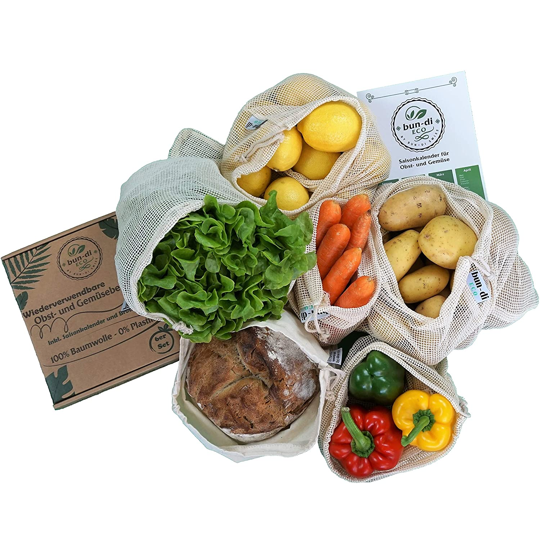 bun-di ECO Wiederverwendbare Obst- und Gemüsebeutel aus Baumwolle inkl. Saisonkalender und Brotbeutel | Nachhaltige Einkaufsnetze | Gemüsenetze mit Gewichtsangabe (6er Set) bun-di Swiss GmbH