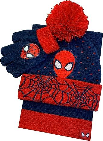Boys Spider Man Hat /& Scarf New Kids Winter Super Hero Marvel Sets 3-12 Years