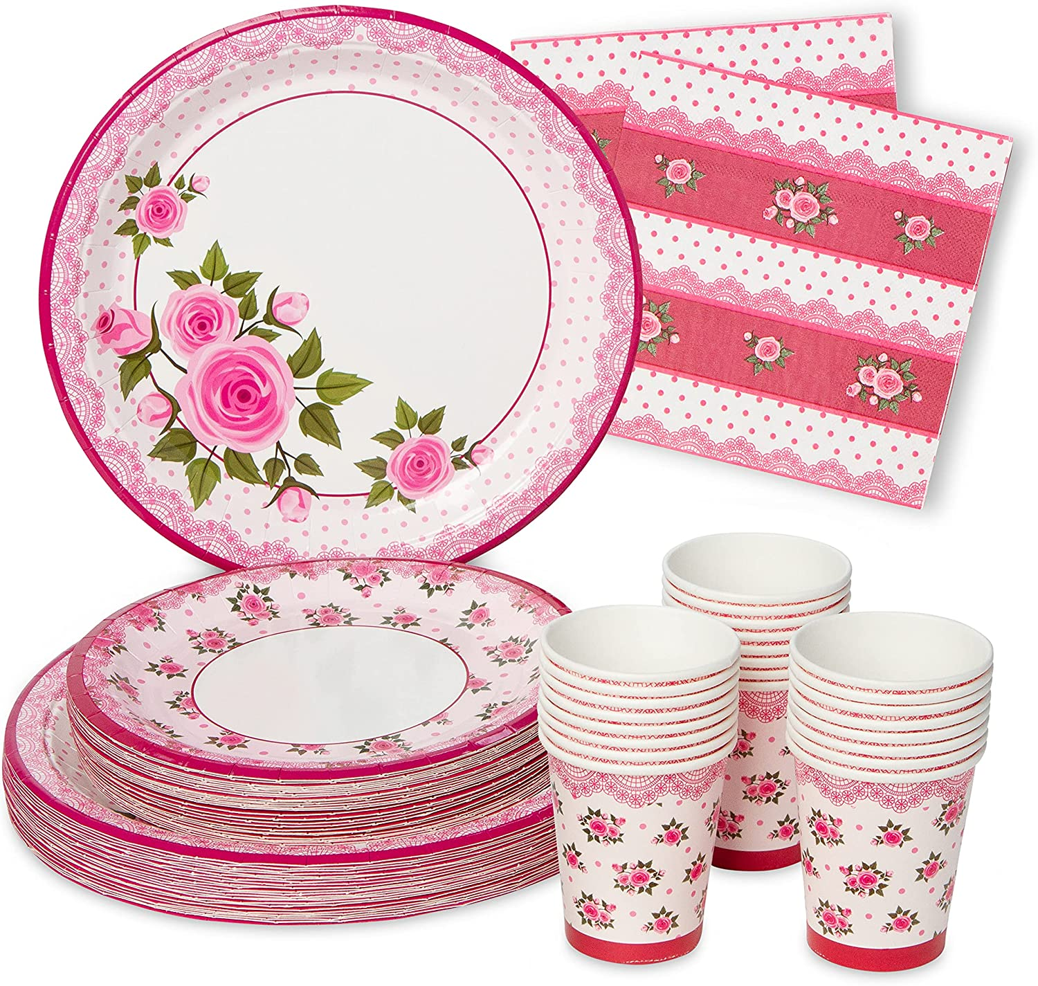 Royal Magnolia Floral Party Supplies - Set of 24 - Rose Paper Plates (7 and 9 Inch), Paper Napkins and Party Cups - Disposable Flower Theme Dinnerware Set for Birthday, Baby Shower, Bachelorette Party