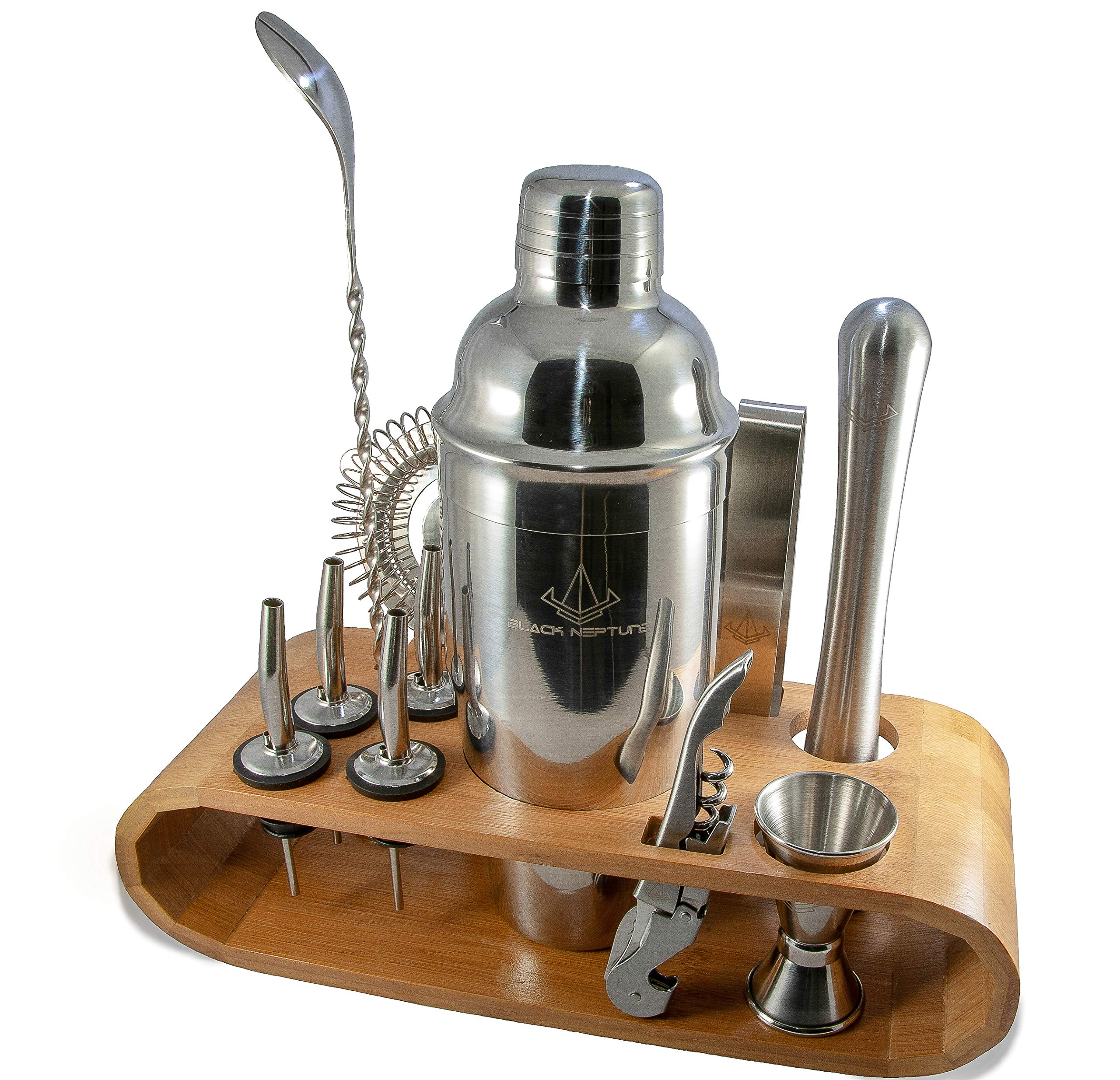 Bar Set -Black Neptune 12-Piece All-In-One Home Kitchen Bar Set, Pro Bartender Cocktail Shaker Tool Kit w/Real Bamboo Stand, Premium-Quality Stainless Steel Accessories, Perfect Gift, Dishwasher Safe