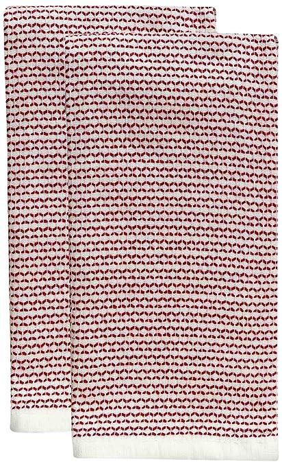 Harman textura toalla de rizo, color rojo, juego de 2