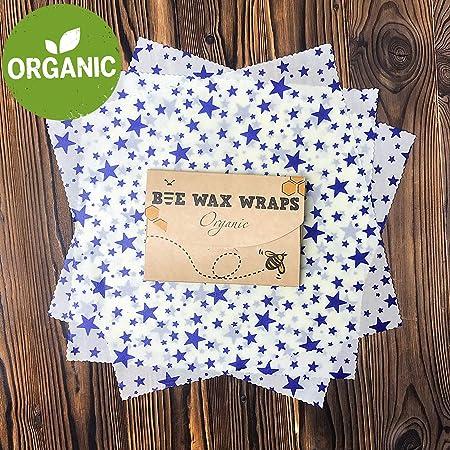 Premium Beeswax Wrap – Envoltorio de alimentos orgánico reutilizable para envolver y almacenar – plástico Freee – Pack de 3 – 13 x 13 cm grande: Amazon.es: Hogar