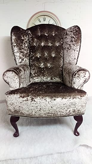 Merveilleux Metro Furniture Wing Back Queen Anne Cottage Chair Mink Crushed Velvet With  Button Detail To Back