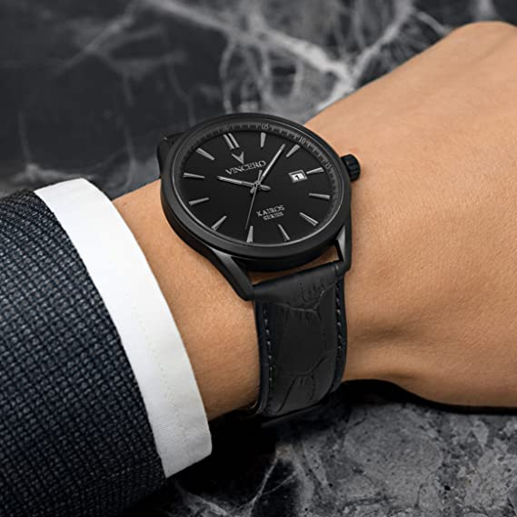 ... Vincero Luxury Mens Kairos Wrist Watch — Matte Black with Black Leather Watch Band — 42mm Analog Watch — Japanese Quartz Movement: Vincero: Watches