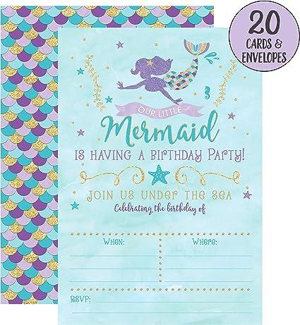 Amazon.com: Mermaid Cumpleaños Invitaciones, 20 Fill en ...