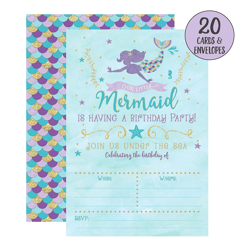 Amazon.com: Mermaid Birthday Invitations, 20 Fill In Mermaid Party ...