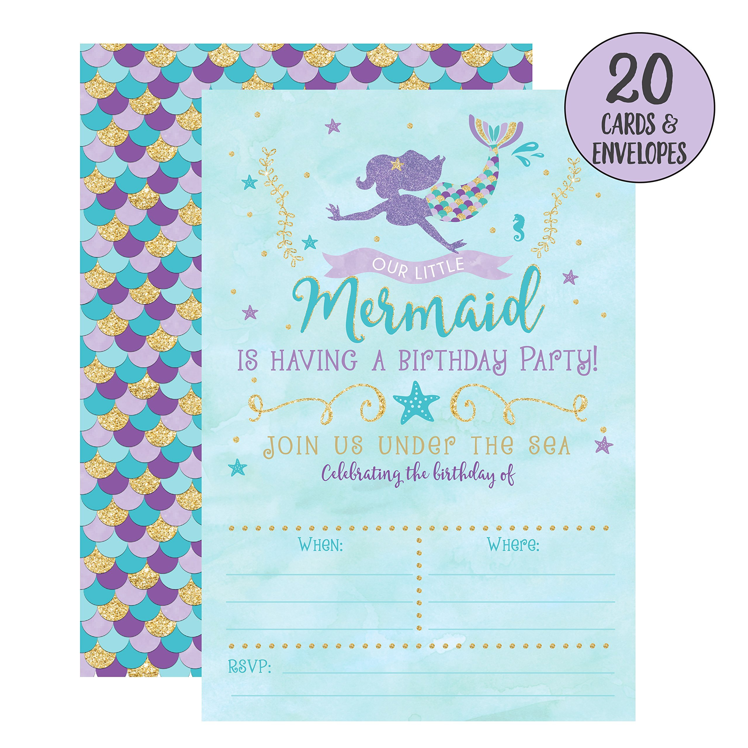 Mermaid Birthday Invitations, 20 Fill In Mermaid Party Invitations With Envelopes by Your Main Event Prints