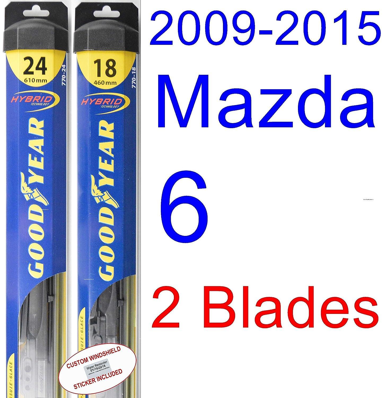 2009 - 2015 Mazda 6 hoja de limpiaparabrisas de repuesto Set/Kit (Goodyear limpiaparabrisas blades-hybrid) (2010,2011,2012,2013,2014): Amazon.es: Coche y ...