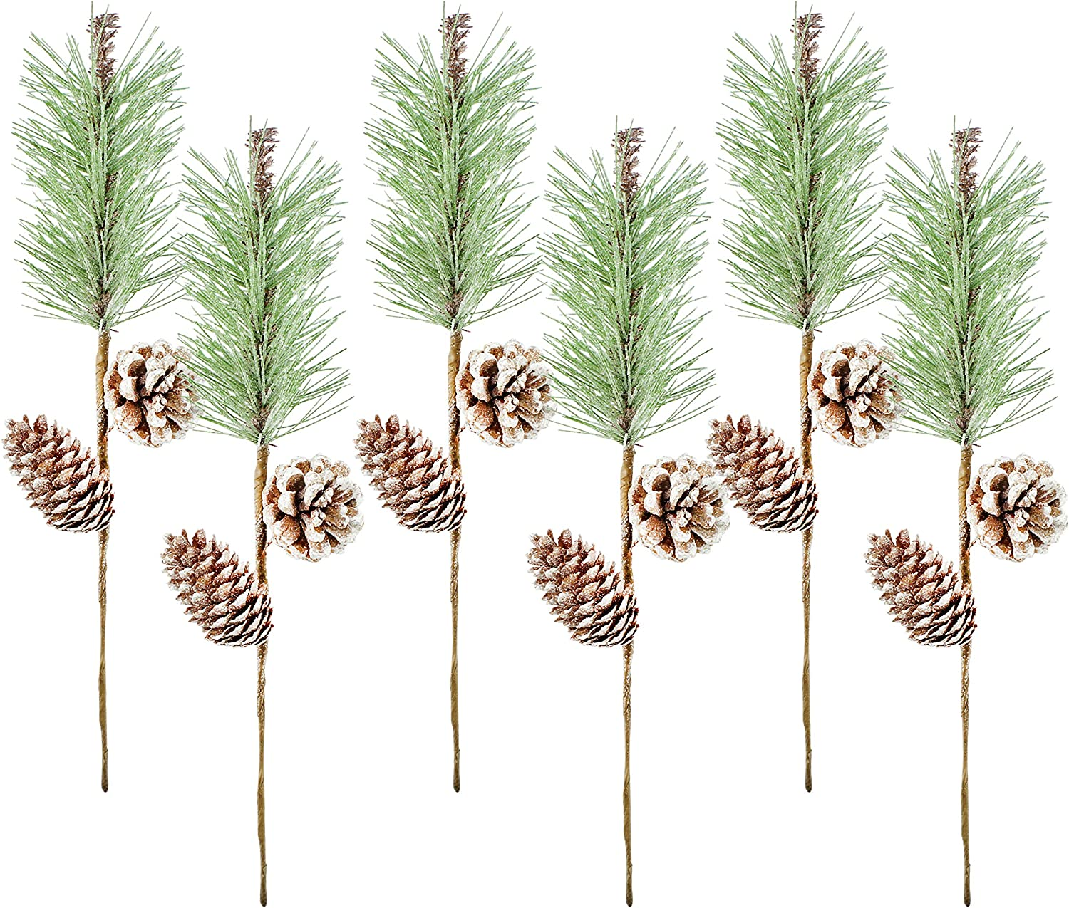 AuldHome Pine Cone Picks (6-Pack); Frosted Evergreen Christmas Decor Floral Stems for Wreaths, Vases and Holiday Arrangements