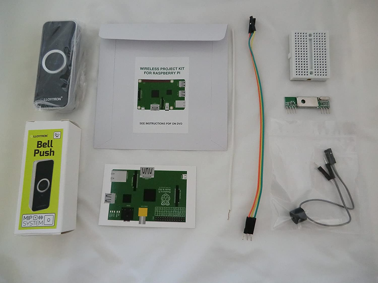 Internet & MP3 Doorbell (black) project kit for Raspberry Pi 3, Pi 2, B+,  A+, B and A models  Kit includes a Lloytron MIP wireless doorbell & 433MHz