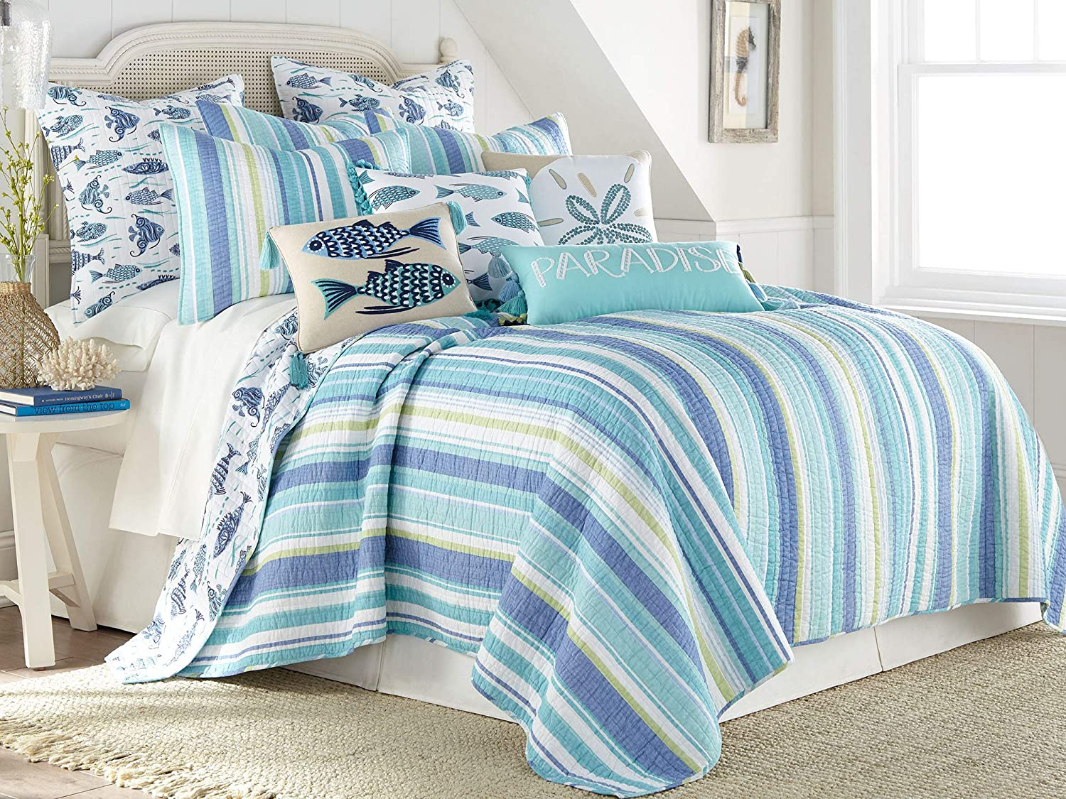 Levtex home - Laida Beach Quilt Set - Full/Queen Quilt + Two Standard Pillow Shams - Coastal Stripe - Green, Blue, White - Quilt Size (88x92in.) and Pillow Sham Size (26x20in.) - Reversible - Cotton