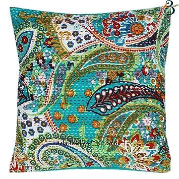 Indian Kantha Cotton Sofa Set Cushion Cover Handmade Paisley Print Patch  Home Decor Sofa Pillow Case