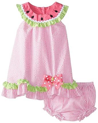 8b027c9f7 Rare Editions Baby Baby Girls' Seersucker Watermelon Dress with Panty Set,  Fuchsia/White