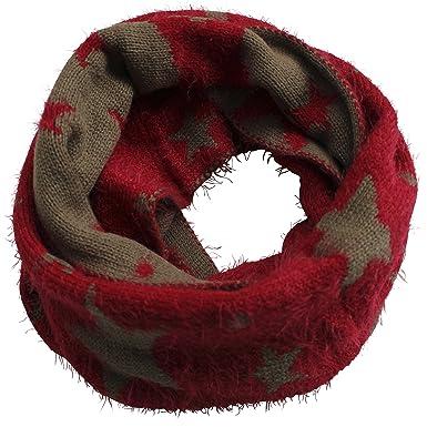FERETI Souple écharpe Avec étoiles Rouge Khaki Etole Tube Circulaire  Foulard Tricot Ronde Snood bf9ef15ab8a