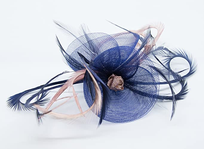 5dacf7938a Navy blue fascinator with Rose Gold on a clip  Amazon.co.uk  Handmade