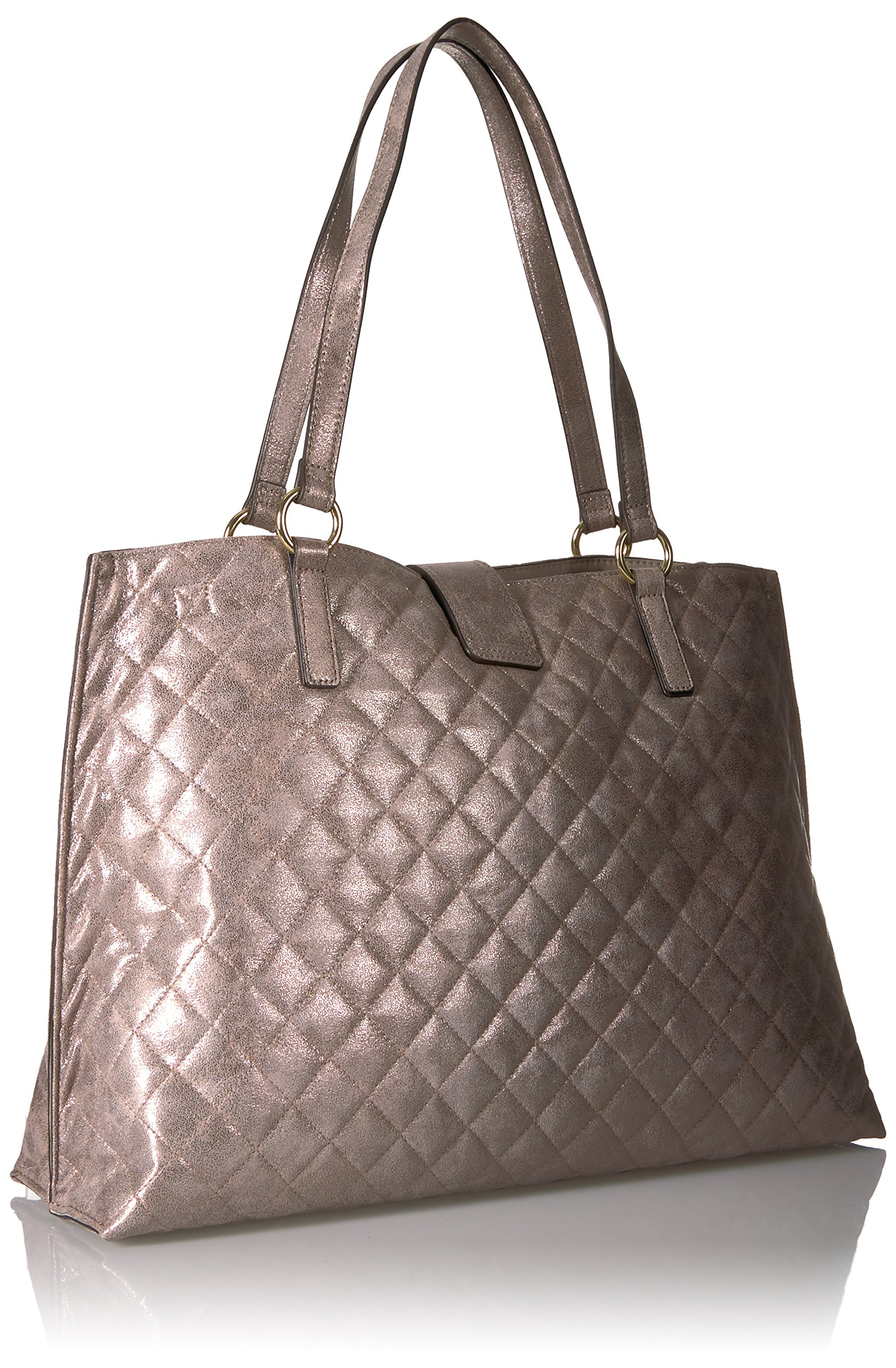 Calvin Klein Quilted Distressed Novelty Tote, Mtallic Taupe by Calvin Klein (Image #2)