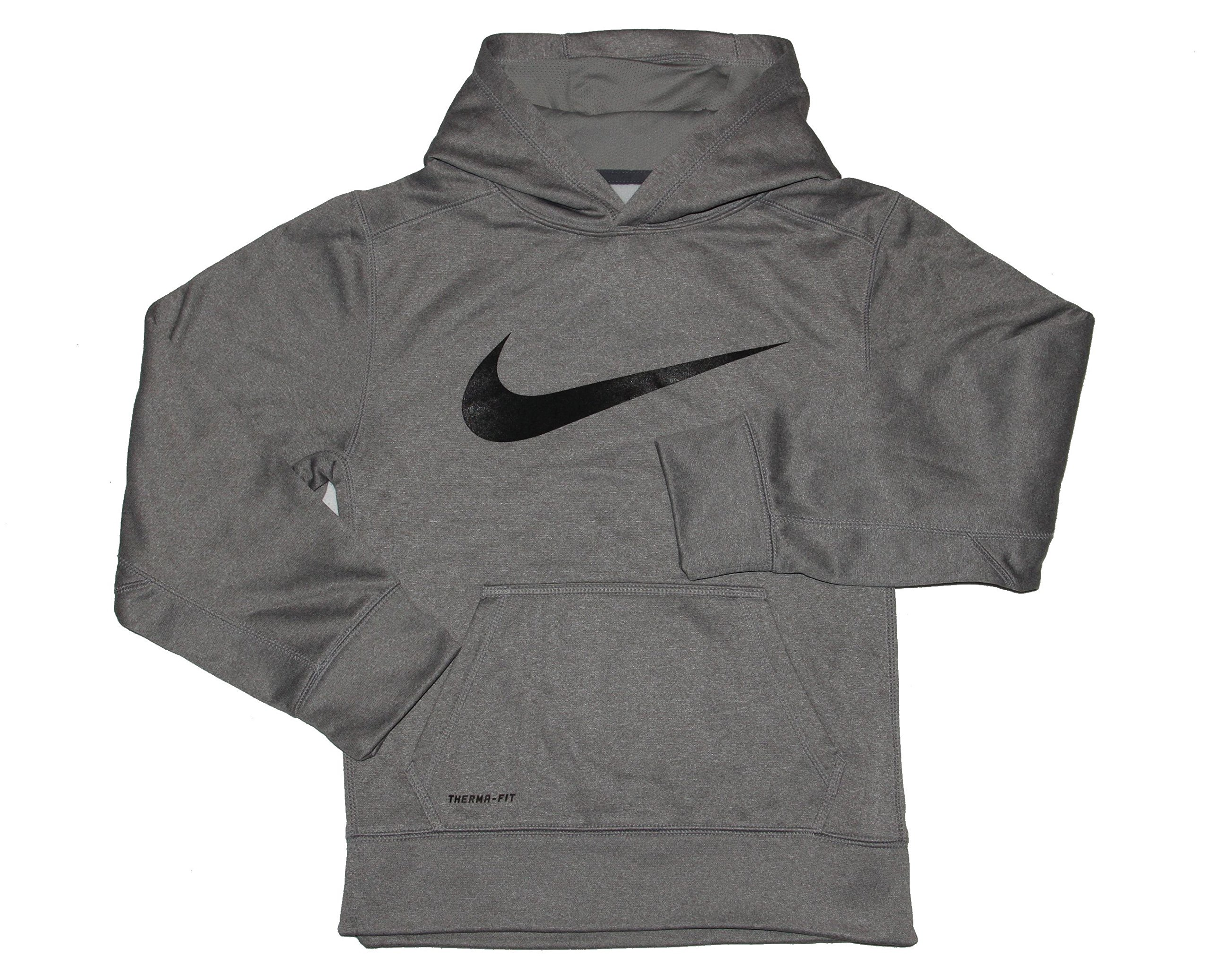 Nike Big Boys' KO Swoosh Pullover Hoodie Dk Grey Heather Sz Medium by NIKE