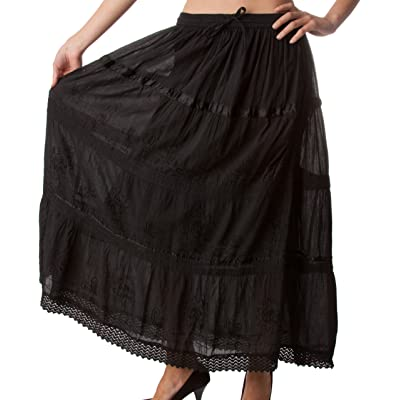 AA554 - Solid Embroidered Gypsy/Bohemian Full/Maxi/Long Cotton Skirt - Black/One Size at Women's Clothing store